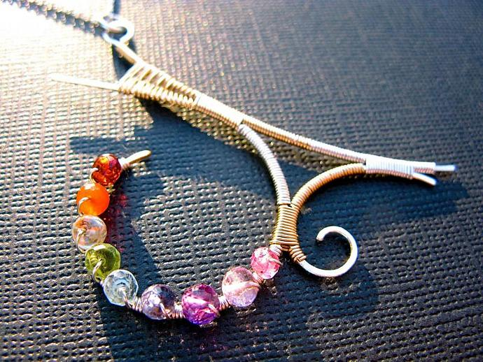 Mixed Metal Rainbow Gemstone Abstract Pendant, Sterling Silver & Gold Filled