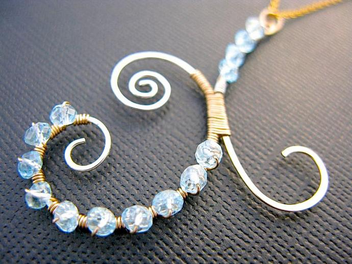 Blue Topaz Abstract Necklace, Wrapped in Sterling Silver & Gold Filled Wire,