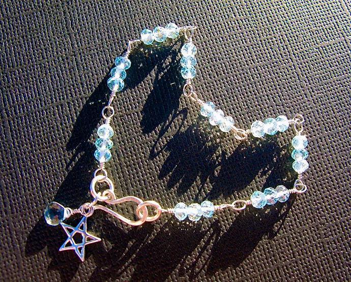 Sky Blue Topaz Bracelet, Wire Wrapped in Sterling Silver, December Birthstone,