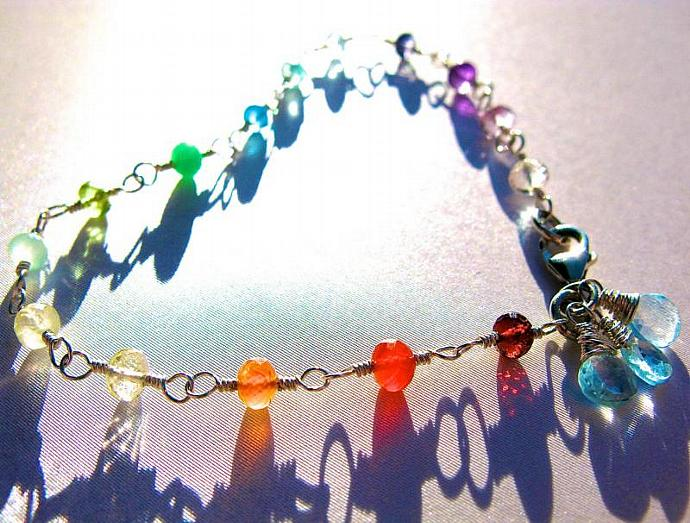 Rainbow Gemstone & Blue Topaz Bracelet, Wire Wrapped in Sterling Silver, AAA