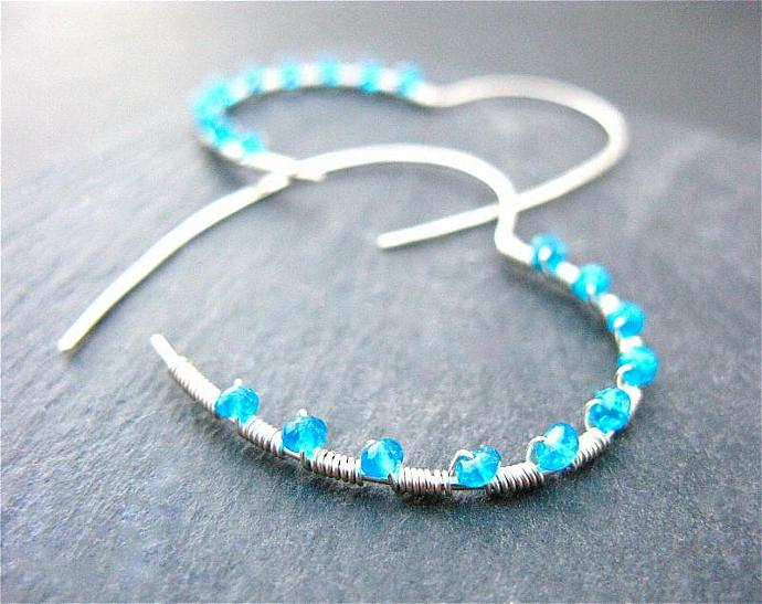 Hoop Earrings Heart Shape in Sterling Silver, Wire Wrapped with Neon Blue