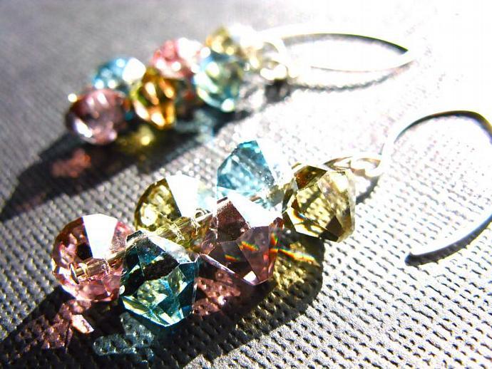 SALE! 20% OFF! Swarovski Crystal Earrings in Sterling Silver, Handmade, Pink
