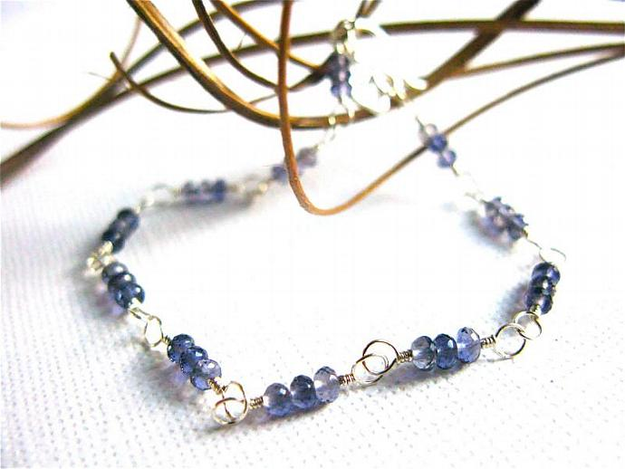 AAA Quality Iolite & Sterling Silver Wire Wrapped Bracelet, with Heart Charm,