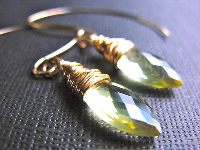 Lemon Quartz on Gold Fill Earrings, Wire Wrapped Lemon Quartz Marquise
