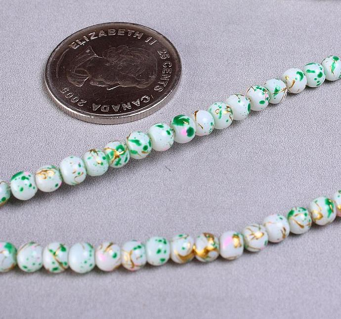 Green white gold pink round glass opaque bead strand 4mm 100pc (951)