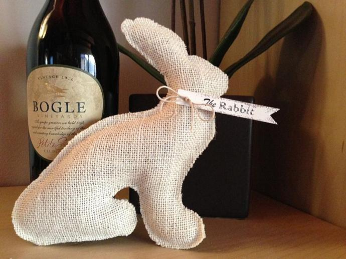 Shabby Chic Easter Rabbit --  Stuffed Burlap Bunny