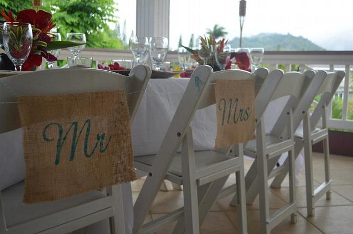 Mr. & Mrs. Burlap Chair Banners