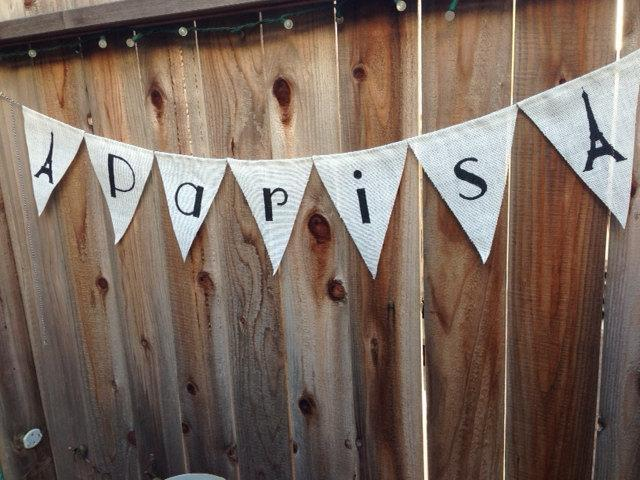 "White Burlap ""Paris"" banner"