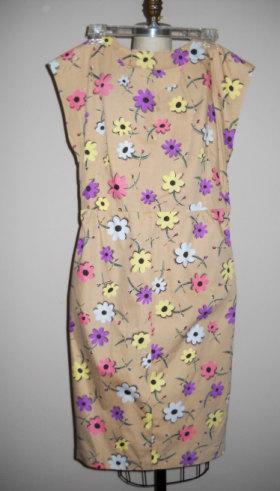 Vintage Tan Floral Print Day Dress
