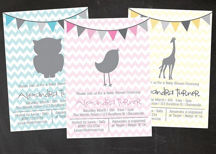 Animal Baby Shower Custom Printable Baby Shower Invitation