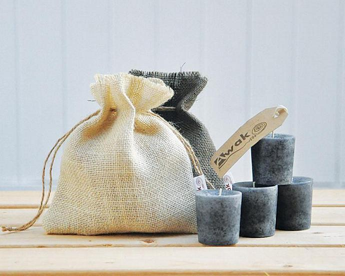 Scented Grey Candle - Frankincense and Myrrh Votive Candles (4) - Home & Living