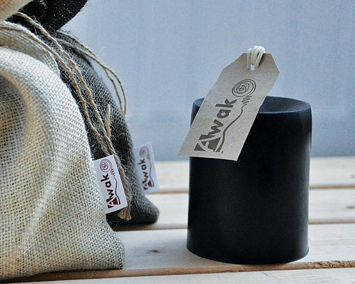 FIREWOOD CANDLE - Black Scented Pillar Candle - Black Candle Wood Burning Candle