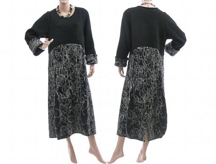 Maxi boho dress, boiled wool in black grey - balloon, tulip shape - lagenlook