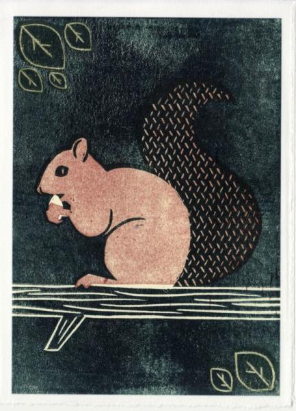 SQUIRREL Reproduction 5 x 7 Linocut Art Print