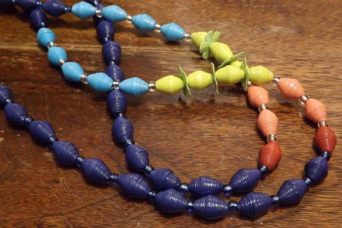 Multi Colored Beaded Necklace, Paper & Glass Beads, Flower Petal Spacers. Navy