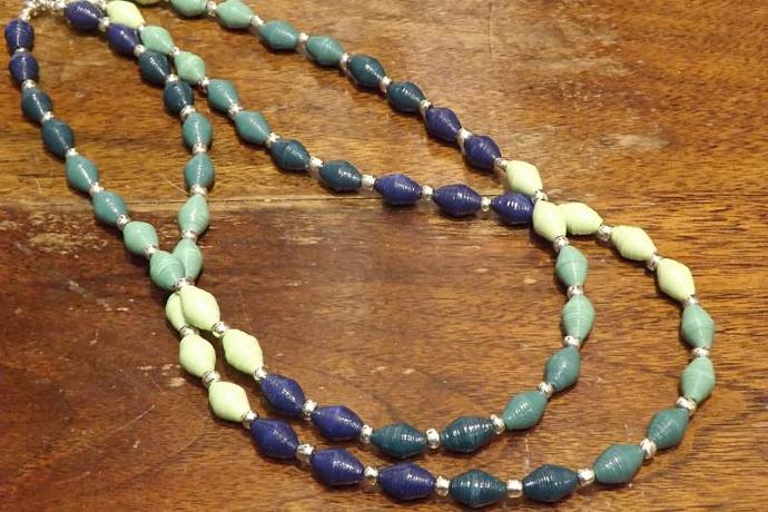 Blue, Green Colored Beaded Necklace, Paper & Glass Beads, Double Strand