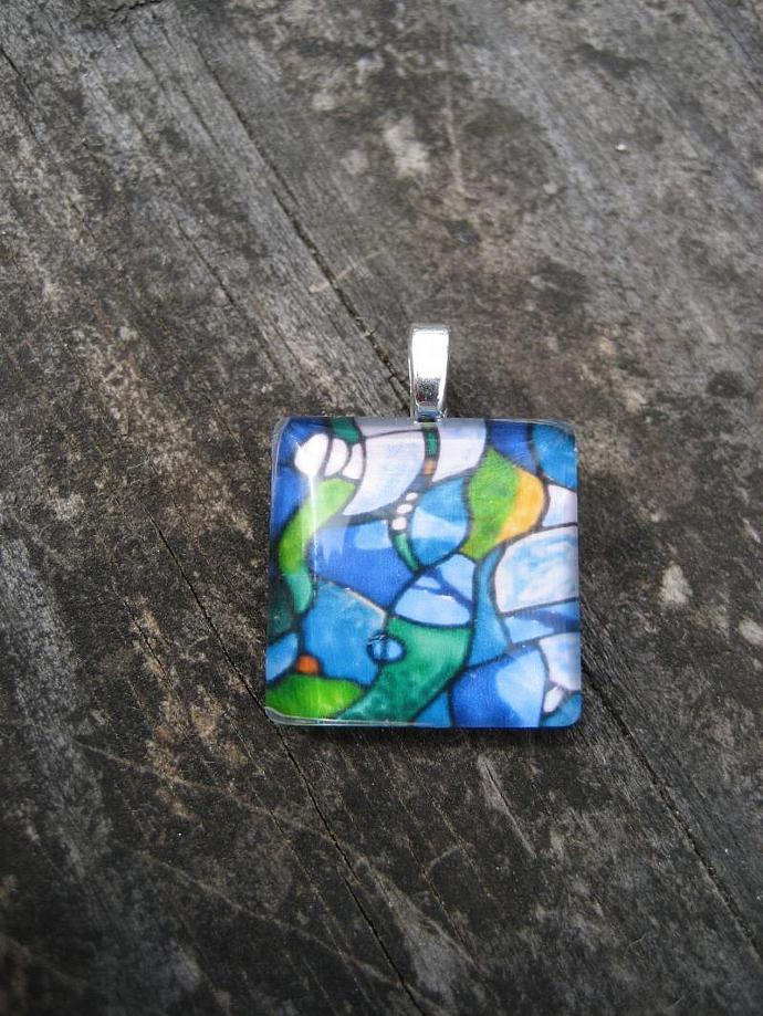 underwater Abstract seaweed Art Charm handcrafted Original Glass tile Art
