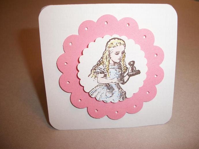 6ct  Pink Scallop Alice Wonderland 3x3 note cads / gift cards