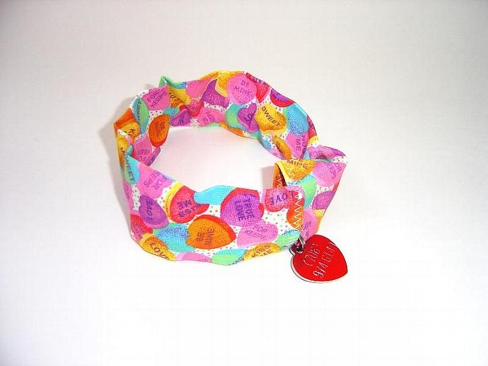 Valentines Day Pet Collar Cover, a bandana alternative, pet collar slipcover