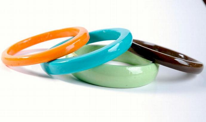 chunky bangle SET of FOUR brown mint green turquoise and orange stacking bangle