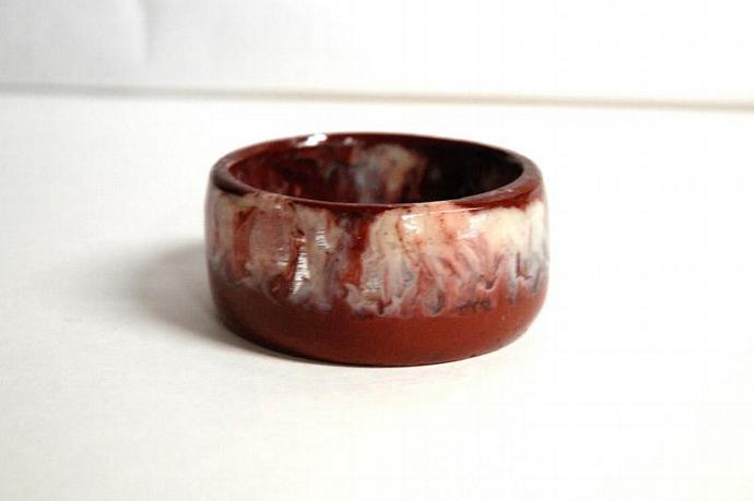 chunky bangle brick red, cream and clear handmade resin bangle