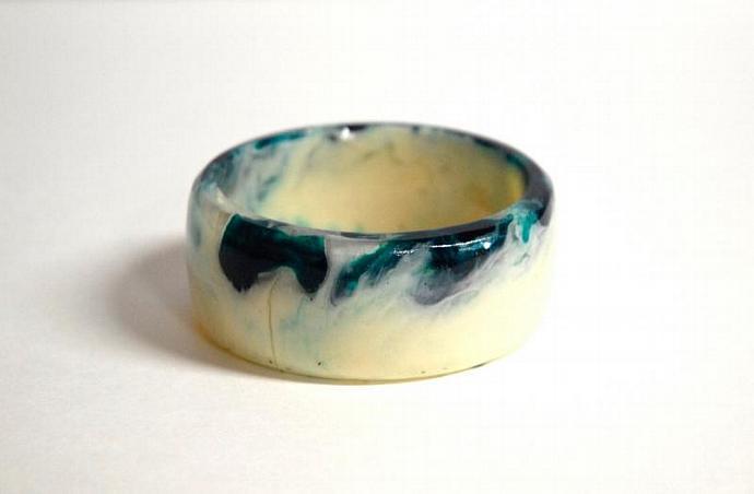 Viridian green and cream handmade resin bangle