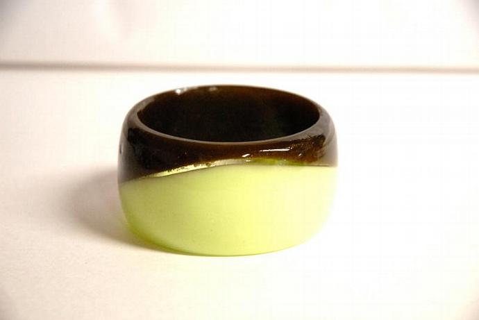 chunky bangle neon green and olive green extra tall dual color handmade resin