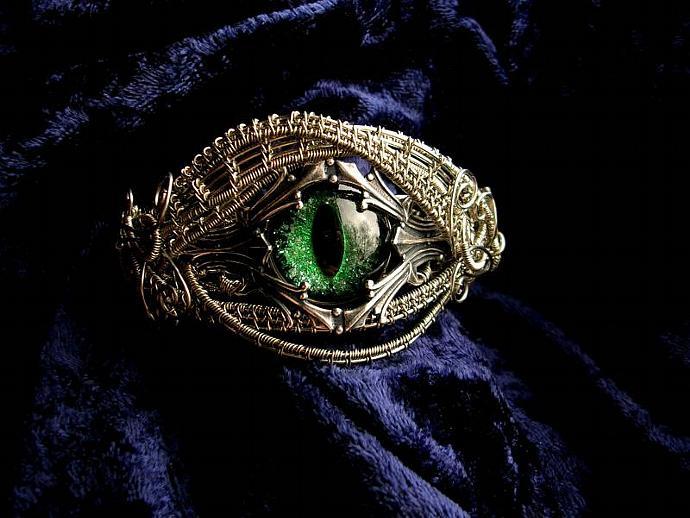 CUSTOM ORDER - Gothic Fantasy Steampunk Bracelet - Royal Dragon Eye - Cat Eye -