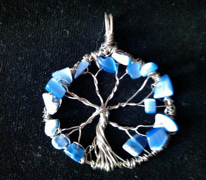 Silver Plate Wire Wrapped Tree of Life Pendant With Sodalite Chips