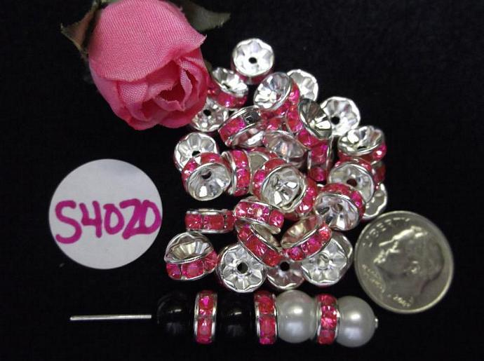 Carnation Pink Crystal Spacer Beads Silver Plated Round 100 pcs S4020 8mm