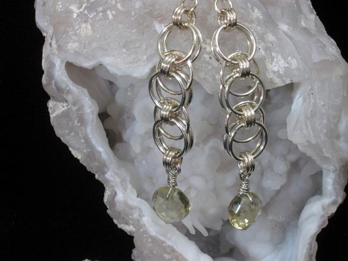 Lemon Drop Chainmaille Earrings