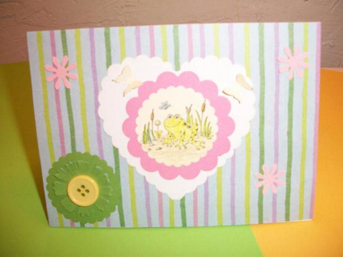 Unisex / Striped Frog Card