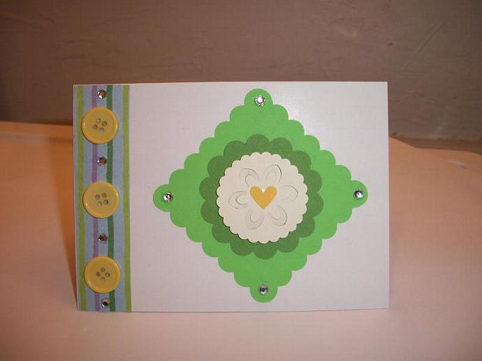 SALE // 4x3 white and green blank greeting card