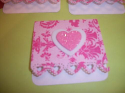 3ct Pink heart mini note cards / with envelopes