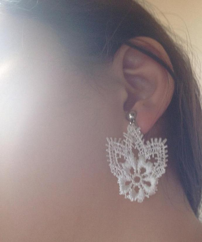 Delicate Vintage Lace Earring Set Pretty Vintage White Lace Earrings Exclusive