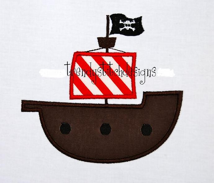 Pirate Ship Applique Machine Embroidery Design