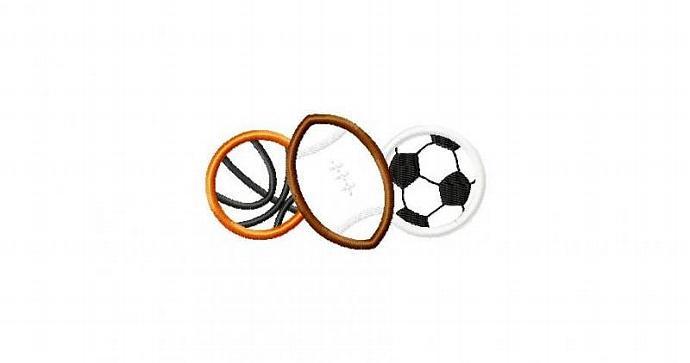 Sports Ball Combo 2 Applique Machine Embroidery Design