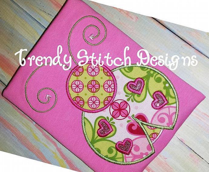 Lady Bug Heart Applique Design Machine Embroidery Design