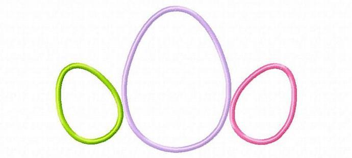 Eggs Trio Applique Design Machine Embroidery Design