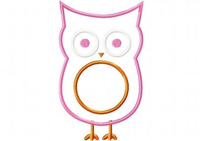 Owl 2 Applique Design Machine Embroidery Design