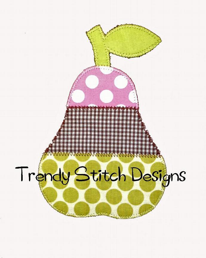 Pear 3 Applique Design Machine Embroidery Design Back to School