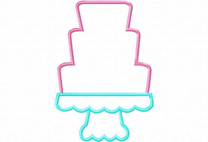 Cake 2 Cake on Pedestal Applique Machine Embroidery Design