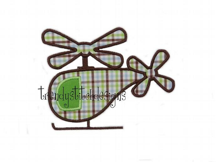 Helicopter applique machine embroidery design Patch