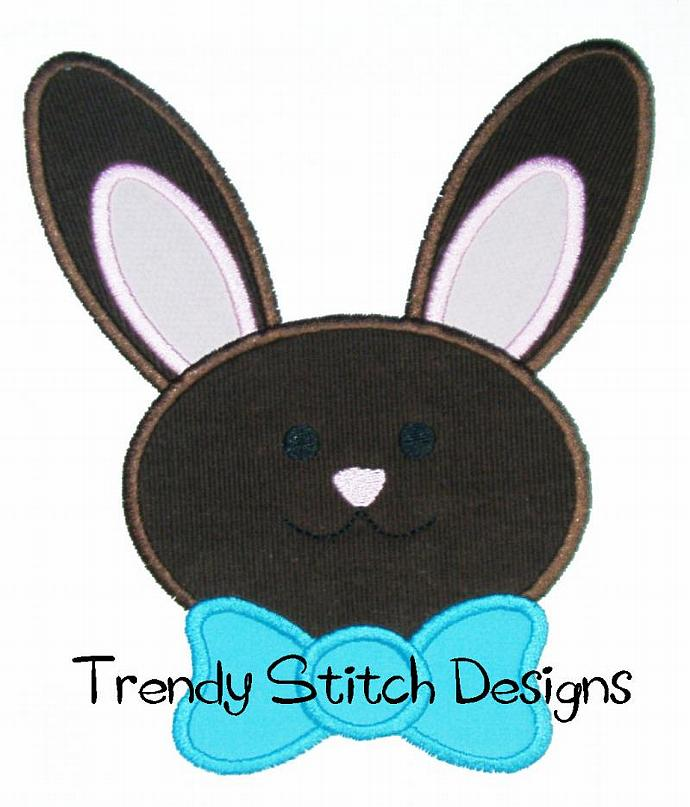 Bunny Face BOY tie Applique Design Machine Embroidery Design Easter Bunny