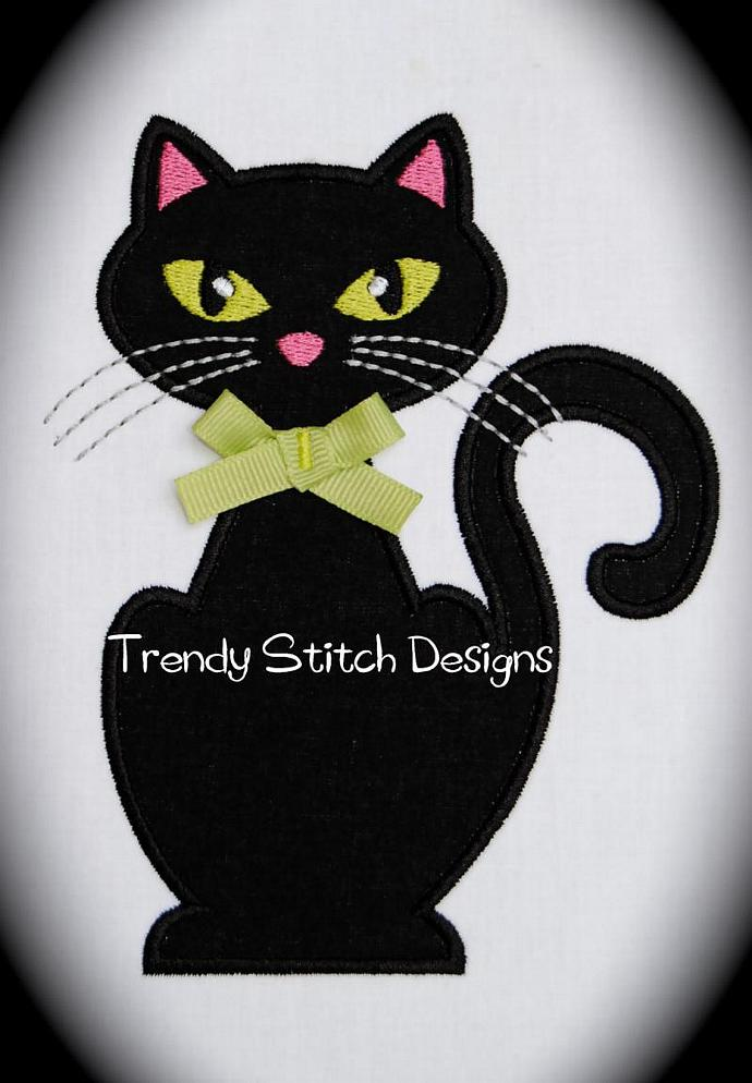 Miss Kitty Applique Design Machine Embroidery Design