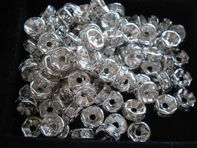100 pc Round 7mm Clear Crystal Spacers Grade AAA Silver Plated Rondelle S6369