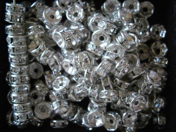100 pc Silver 6mm Clear Crystal Spacers Grade AAA Round Rondelle S5604A