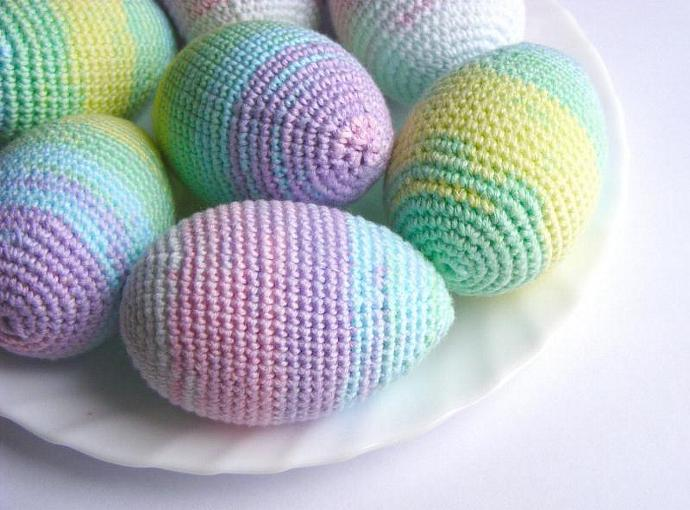 Easter crochet eggs, spring decor, set of 3, Easter ornaments, holidays home