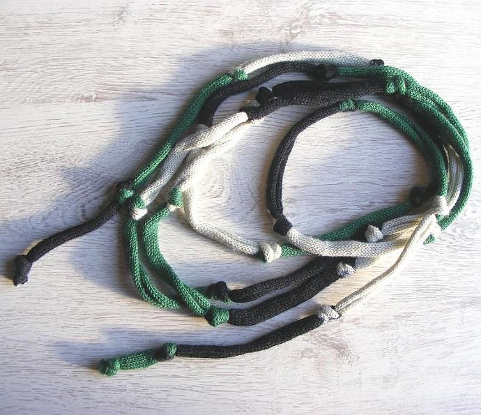 Womens lariat scarf, knit scarf, wool neckwarmer, knitted necklace, green,