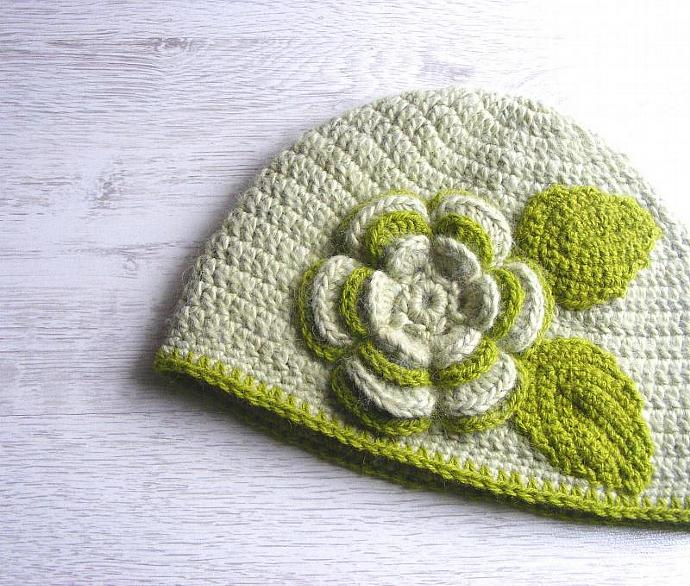 Womens crochet hat with flower, warm hat, green, light green, handmade, Ready